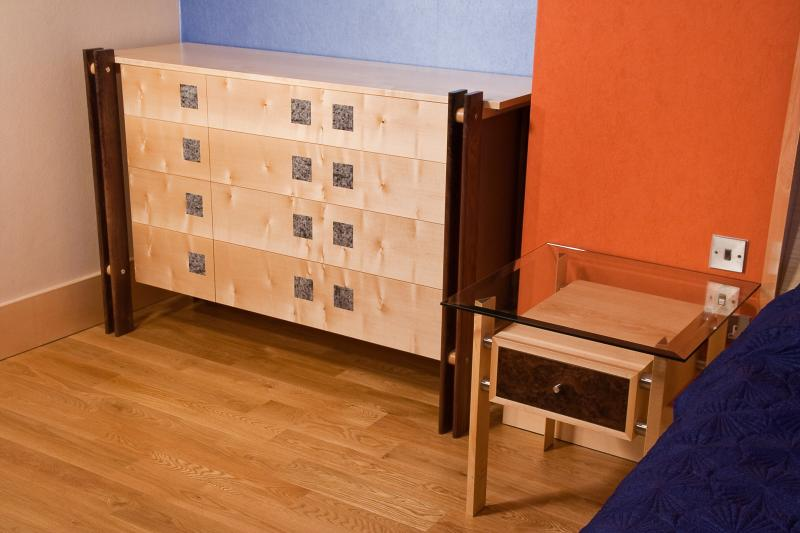 Bedroom chest and bedside table by Design in Wood