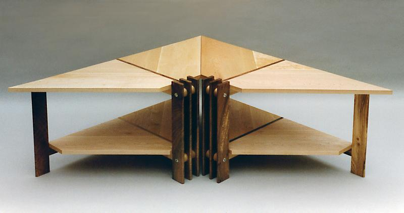 Pair of Triangular Coffee Tables by Design in Wood