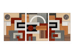 marquetry wall-panels - 'Grid I', 'Arc III', 'Grid II' by Christine Meyer-Eaglestone