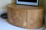 Media unit in oak and burr oak by Dovetailors