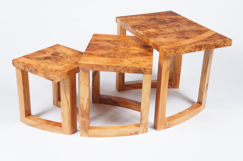 Nest of tables in yew by Dovetailors